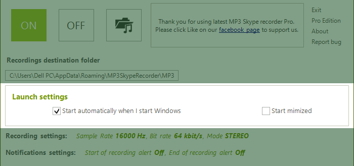 Startup settings for MP3 Skype recorder
